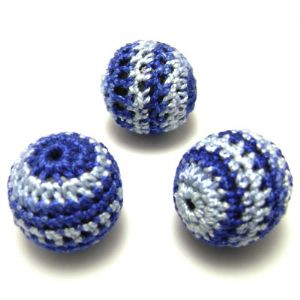 Beads, Woolen thread and Wood, Dark blue, Light blue, Round shape, Diameter 22mm, 1 Bead, (XXQ0036)